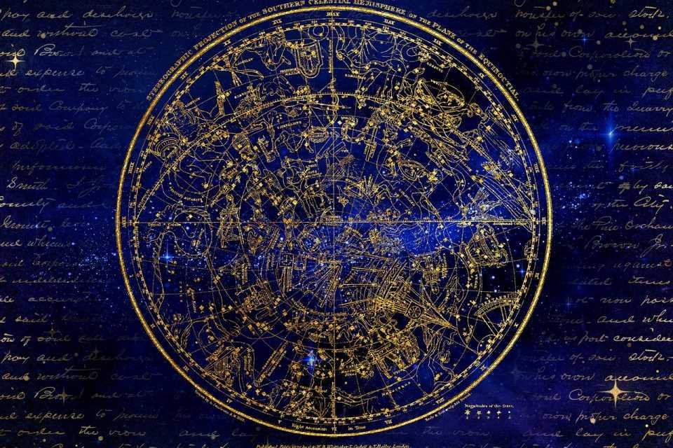 Карта звёзд - южное полушарие. Созвездия. Гороскоп