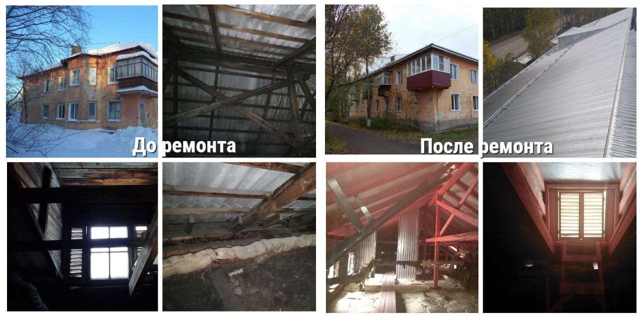Капитальный ремонт крыши дома на улице Советская 4, город Печора. Фото МинЖКХ Коми